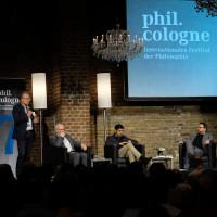 phil.cologne 2019: Cai Werntgen ( UKS Forum Humanum), Herfried Münkler, Parag Khanna und Wolfram Eilenberger ©Ast/Juergens
